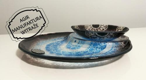 sushi talerzyk miseczka fuse szkło rękodzieło niebiesko czarny