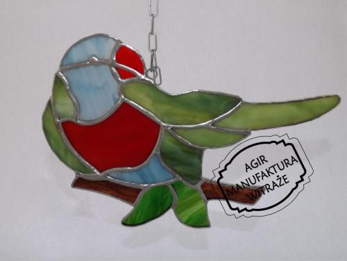 tiffany papuga witraż okno ściana zawieszka