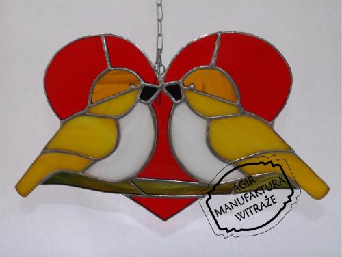 ptaszki serce witraż zawieszka rękodzieło sztuka okno ściana