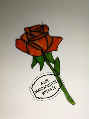 Róża witraż zawieszka czerwona prezent upominek szkło