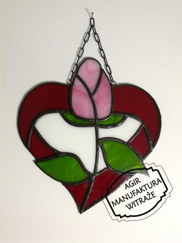 Tiffany witraż zawieszka serce kwiat