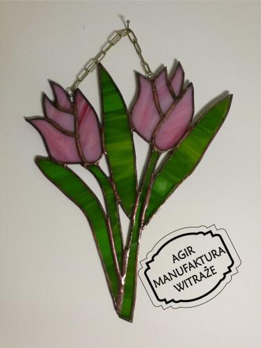 tulipany różowe witraż zawieszka szkło Tiffany prezent