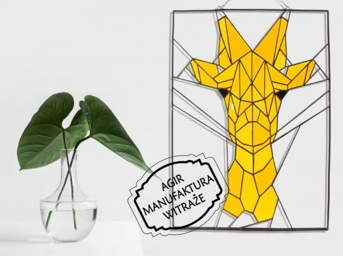 witraż żyrafa geometryczna nakładany flot szkło