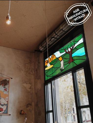 witraż golfista okno mieszkanie wizualizacja tiffany